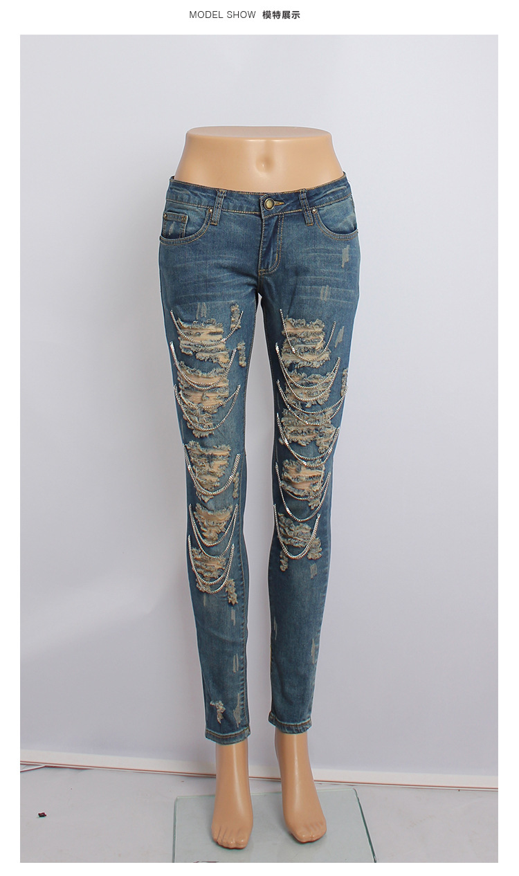 New 2016 Old Hole In Metal Chain Skinny Robin Jeans Destroyed ...