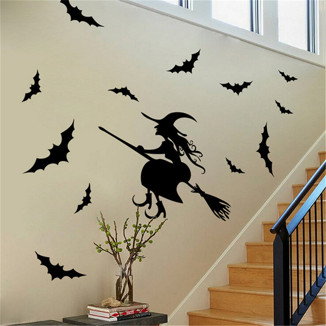 eshylala black halloween witch bat wall sticker paper art removable