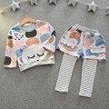 Ropa para niños Set de Dibujos Animados de Manga Larga Camisetas + Pantalones Traje de Los Niños Muchachas de La Princesa de Halloween Outfit Muchacha Del Niño Ropa