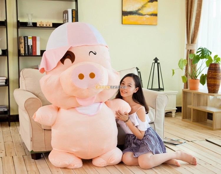 Fancytrader Lovely High Quality Toy 59''  150cm Biggest Giant Plush Stuffed Mcdull Pig, 2 hat colors Gift, Free Shipping FT90498 plush toy happy stuffed pig with a hat