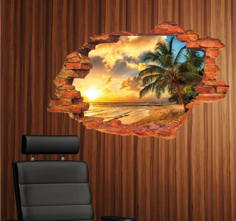 sunset sea beach wall decals home decorative stickers living bedroom decor 3d scenery mural art diy - Cheap Bedroom Decor