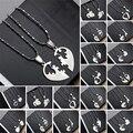 1 par de forma de corazón de acero titanium de la manera collares colgantes de los hombres mujeres Pareja Amante Te Amo Collar Regalos de Joyas 19 estilos