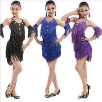 Sequined Girls Latin Ballroom Dress Kids figure skating Dance Dress children professional Salsa competition clothes Outfits