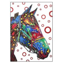 Horse 5D Special Shaped Diamond Painting Embroidery Needlework Rhinestone Crystal Cross Craft Stitch Kit DIY 12x16in