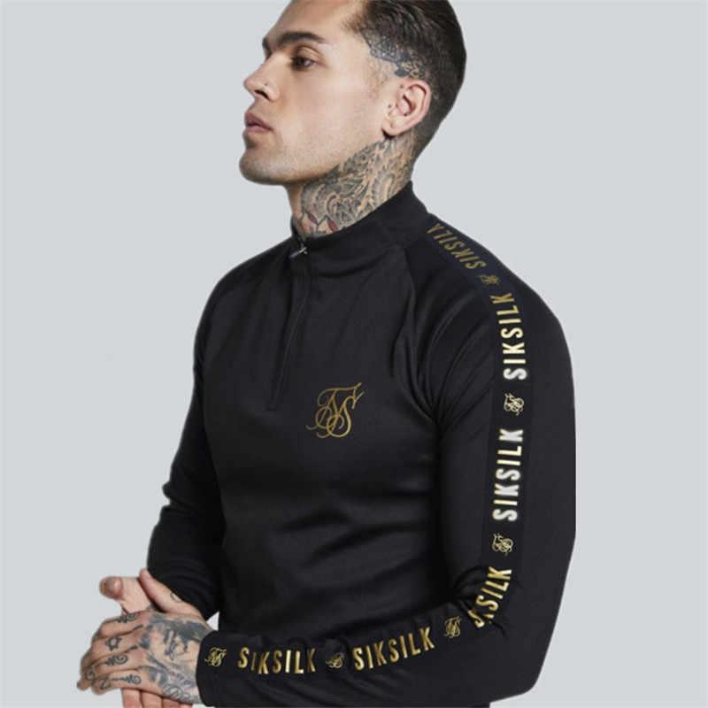 0378b3e54 2019 New Fashion Mens Stretch TShirt Solid Color turtleneck high-elastic  Long Sleeve T Shirts