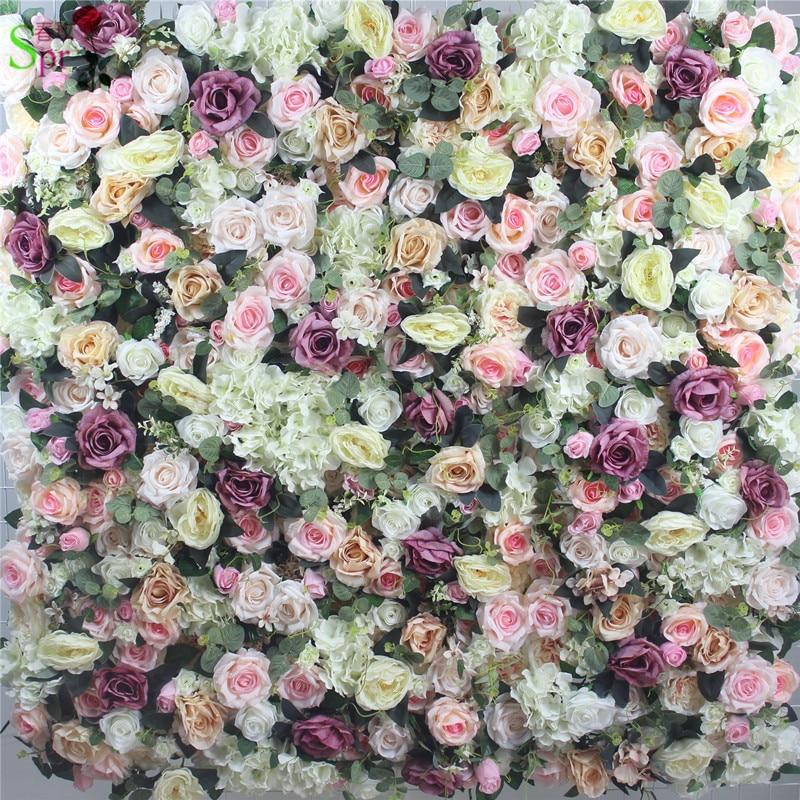 Livraison gratuite 24 pcs/lot haute qualité 3D fleur mur mariage toile de fond artificielle rose hortensia arrangements de fleurs