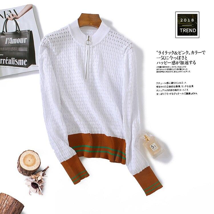 Europa Coreano 2018 Outono E Inverno Mulheres Camisola de Malha Losango Piercing Stripe Moda Malha Suéteres E Pulôveres