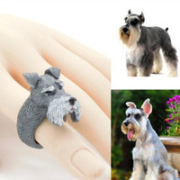 Fashion 2016 Miniature Schnauzer Dog Figure Ring Styling Decoration Japan Animal Collection Article Puppy Birthday Gift