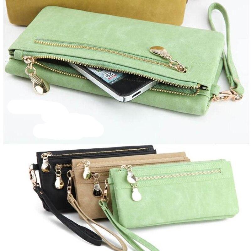 Fashion Women Wallets Dull Polish Leather Wallet Double Zipper Day Clutch Purse Wristlet Portefeuille Handbags Carteira Feminina 5