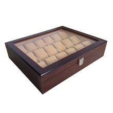 18 Grid Elegant Dark Red Wooden Watch Box