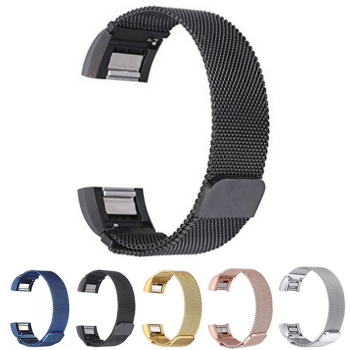Stainless Steel Milanese Loop Magnetic Clasps Watch Band Watchband For Fitbit Charge 2 Smart Bracelet Strap Connecting Adapter magnetic milanese loop watchbands stainless steel smartwatch strap wristwatch band 17mm for fitbit charge 2