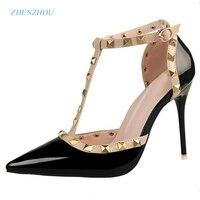 2016 Pumps Summer Style Fashion Female Sandals Rivet Metal Decoration Pu Leather South Korean Style Women