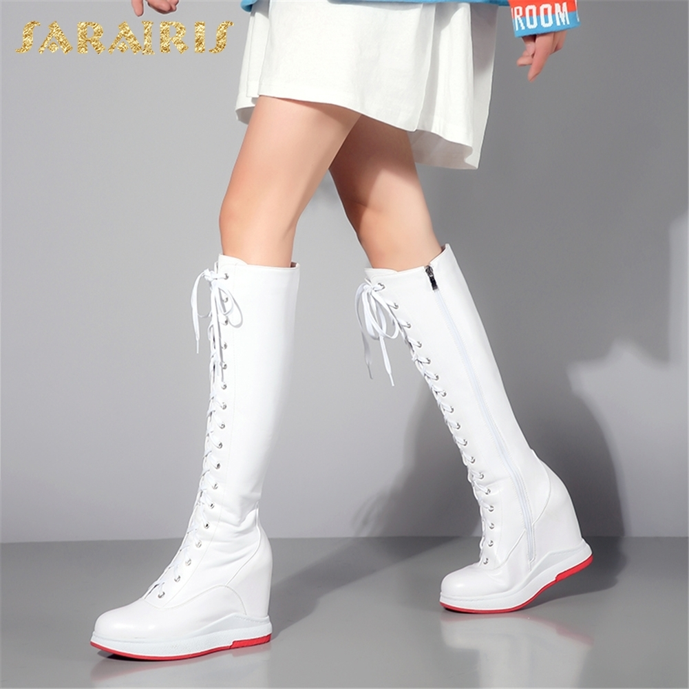 SARAIRIS 2018 wholesale dropship Cow Leather Zip Up Knee High Boots Woman Shoes High Heels Add Fur Winter Boots Shoes Woman sarairis new plus size 32 43 sequin add fur winter boots woman new fashion dropship zip up ankle boots woman shoes woman