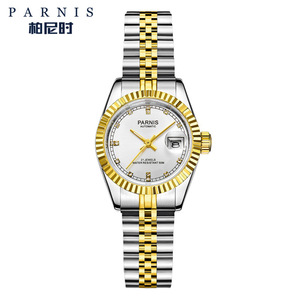 Image 2 - 26mm Parnis frauen Uhr Luxus Mechanische Damen Uhren Royal Strass Edelstahl Japan Bewegung Armband mit Calend