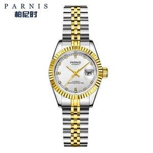 Image 2 - Reloj Parnis de 26mm para mujer, relojes mecánicos de lujo para mujer, diamantes de imitación reales de acero inoxidable, brazalete con movimiento japonés con Calend
