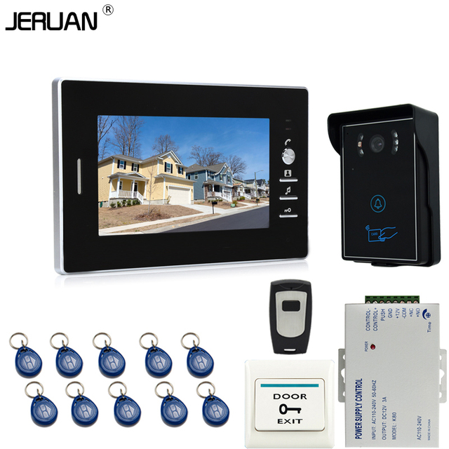 JERUAN 7`` LCD Screen Video Intercom Entry DoorPhone System + 1 monitors + RFID Waterproof  Touch key Camera+Remote control