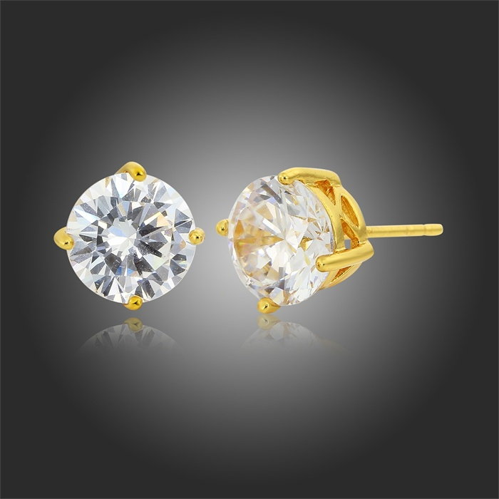 Gold Color Four Claw Round Cupid Cut Zircon Stud Earrings