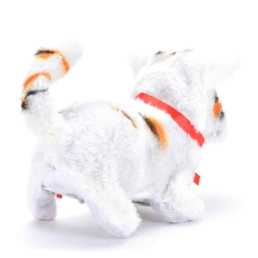 1 pc 어린이를위한 최고의 선물 재미 있은 전기 고양이 소리 산책 귀여운 플러시 어린이 키즈 교육 장난감 2 * aa 배터리