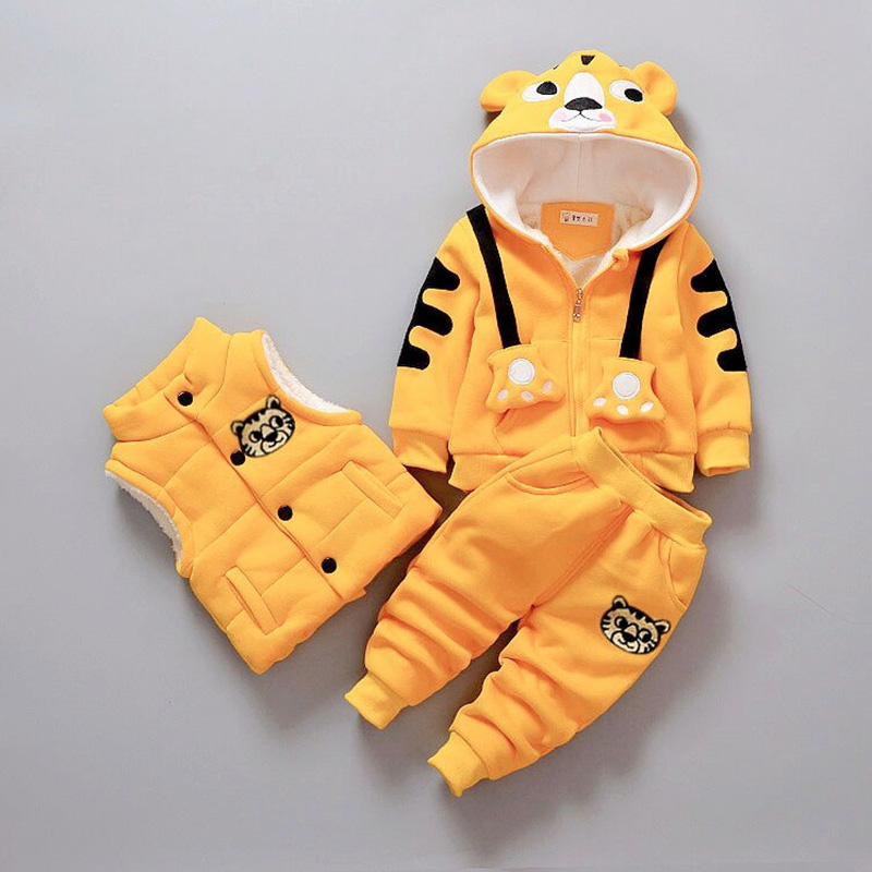 New Autumn Winter Kids Clothes 3pcs Lovely Animal Hooded Coat Jacket+Vest+Pants Toddler Boys Clothing Sets Child Outfit Suits