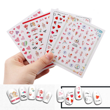 1 Pcs  Love Heart Styles Nail Art Stickers Colorful Stickers Decals Beauty Nail Art  Decorations Fingernails Decals Tools valentine love heart balloons patterned door art stickers