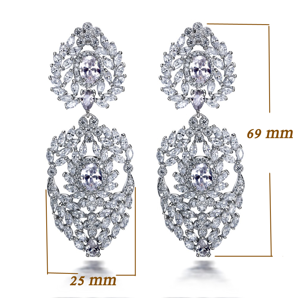 High Quality Jewelry New Pendientes Aros Dorados Gold Color Long Crystal Rhinestone Big Earring For Party Large White Earrings Furniture
