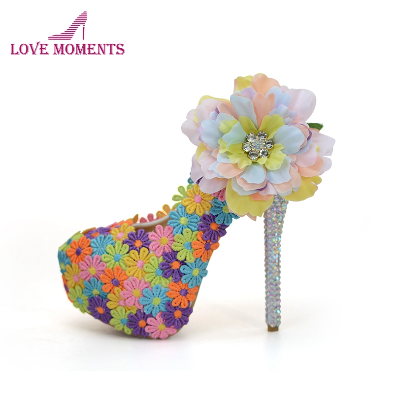 Colorful Lace Flower Bride Shoes Mix Color Wedding Dress Shoes 14cm Super High Heel Rhinestone Daughter Birthday Party Pumps