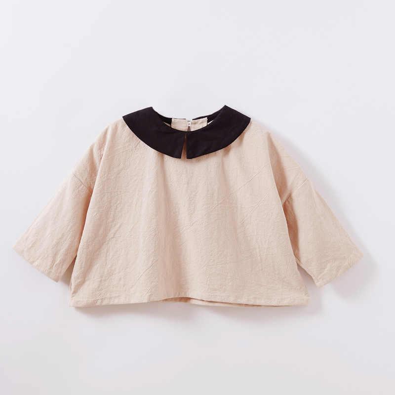 Коллекция 2019 года одежда для девочек хлопковые рубашки с длинными рукавами