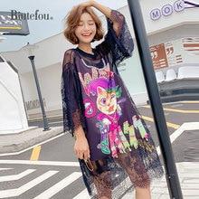 2019 Summer fashion lace patch designs dresses women mesh sequins