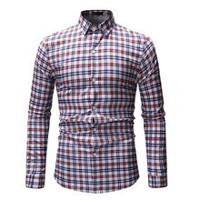 Plaid Men Shirt Short sleeve Hawaiian Fashion Casual Long Blouse Man White Green Purple