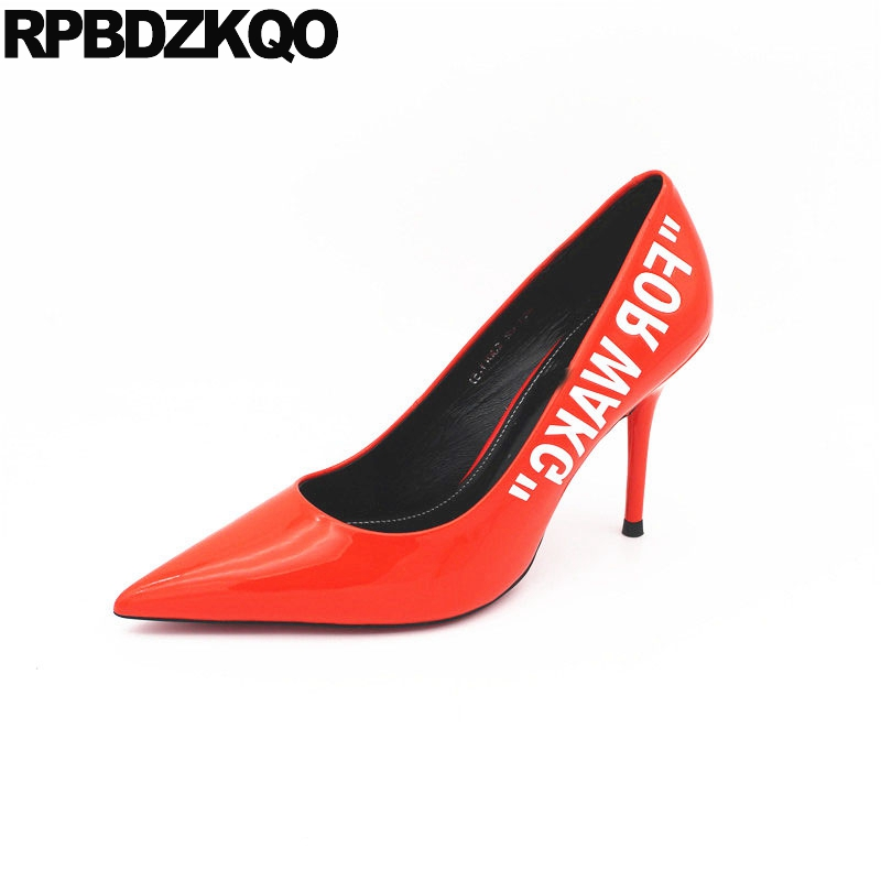 <font><b>Women</b></font> Size 4 34 Red Stiletto <font><b>Pumps</b></font> <font><b>Shoes</b></font> <font><b>Top</b></font> <font><b>Quality</b></font> Pointed Toe Luxury Patent Leather Black Genuine <font><b>High</b></font> <font><b>Heels</b></font> <font><b>2018</b></font> Thin Brand image