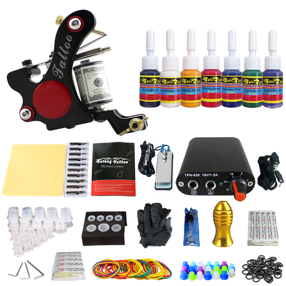 Hybrid Complete Tattoo Coil Machine Kit For Liner Shader Power Supply Foot Pedal Needles Grip Tips Tattoo Body&Art TK105-15 2017 pro complete tattoo machine kit set 2pcs coil tattoo machine gun power supply needles grips tips footswitch for body art