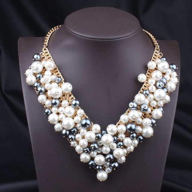2014 new za fashion chokers wedding pearl chunky flower necklace Statement Necklaces & Pendants accessories Women for jewelry