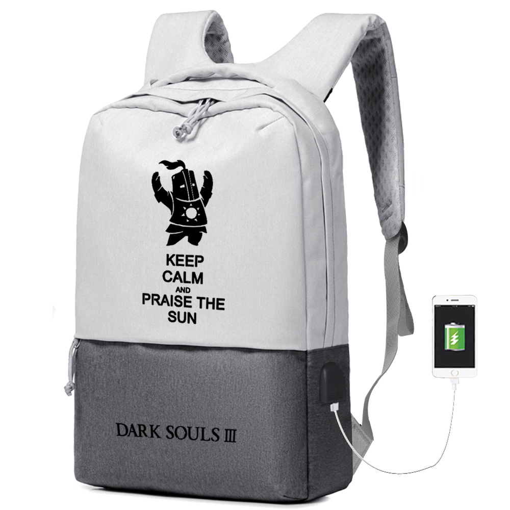 High Quality  Game DARK SOULS Printing Backpack Knight Of The Sun USB Charging Laptop Backpack Canvas School Bags Rugzak