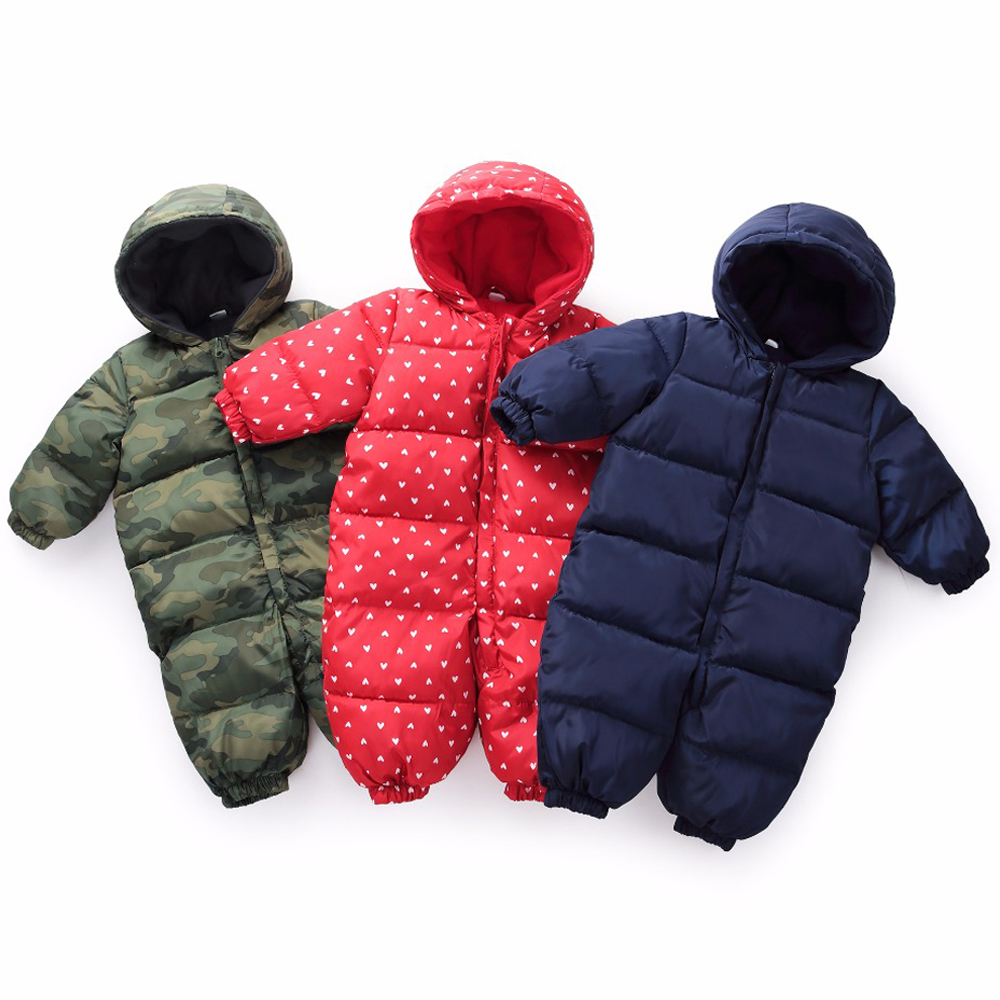 be457a0fa3c3 Snowsuit Baby Snow Wear Cotton Warm Outerwear Coat Childrens Overalls Romper  Kids Baby Boys Girls Winter