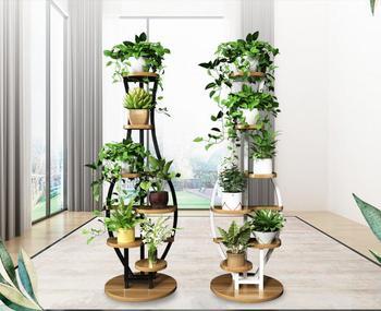 Living room household flower shelf, multi-storey indoor balcony iron round shelf, decorative green lotus pendant orchid shelf