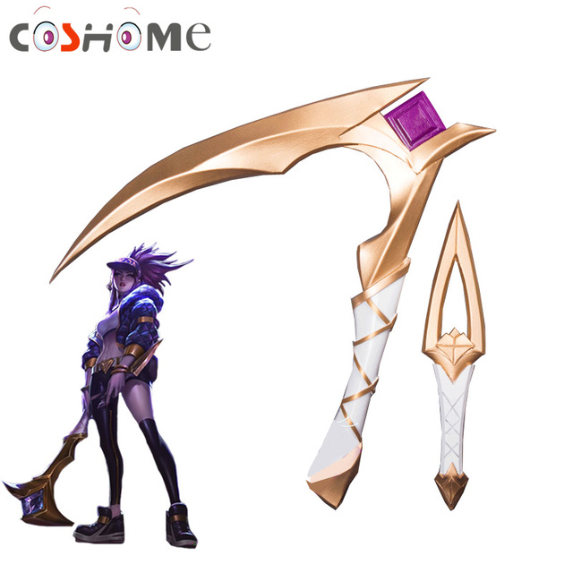 Coshome LOL KDA Akali Cosplay Costume Props Accessories Sickle and Dagger Set