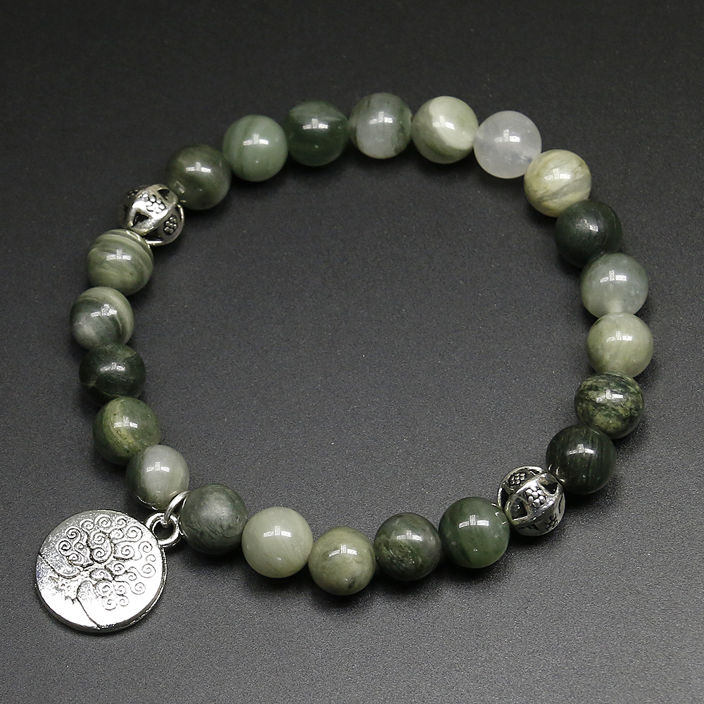 New 2017 8mm Higth Quality Green Onyx Bracelets & Bangles Antique Women Ladies Natural Stone Beads Charm Tree Life Bracelet