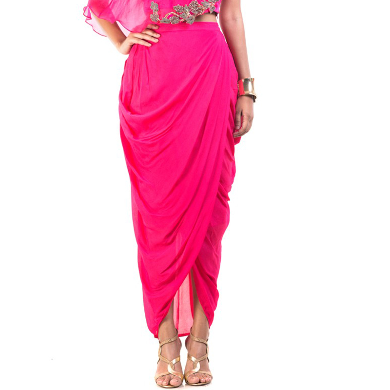 India Saree Fuchsia Color High Low Chiffon Wrap Skirts 2018 Pleated Ankle Length Women Bottom Fashion