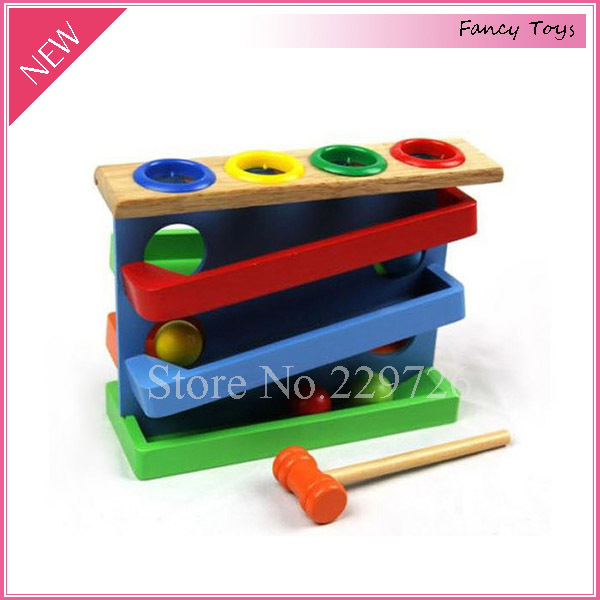 Wooden Hammer Ball Rolling Slope Educational Toddler And