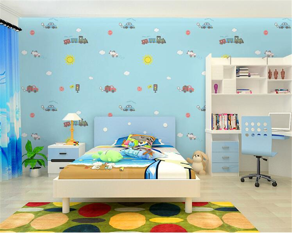 Beibehang wall paper home decor Children 's Room Wallpaper Cute Boy Girl Bedroom background Car Cartoon 3D Wallpaper roll beibehang wallpaper vertical stripes 3d children s room boy bedroom mediterranean style living room wallpaper page 2