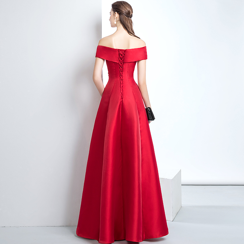 WeiYin New Elegant Red Long Evening Dresses Superb Satin Boat Backless  Beaded Embroidered Prom Dresses Formal vestidos de fiesta-in Evening Dresses  from ... 91507ee08c33