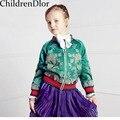 Meninas Casacos e Jaquetas de Outono Inverno Dos Miúdos Meninas Jaqueta Outerwear 2017 Marca Vetement Fille Artesanal de Impressão Da Menina Da Criança Blazer