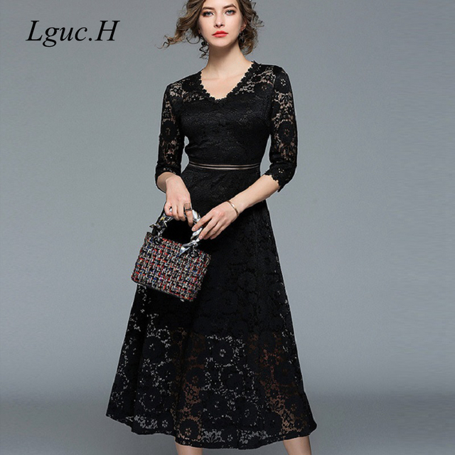 40ae7c634b3 H 2018 Lace Long Dress Elegant Prom Party Dress Autumn Women Tunic High  Waist