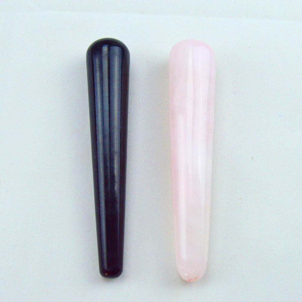 HIMABM 1 Pack = 2 pieces 100% natural rose quartz and obsidian massage stick beauty massage wands for body massage yoni wand куртка горнолыжная burton burton bu007ewzen60