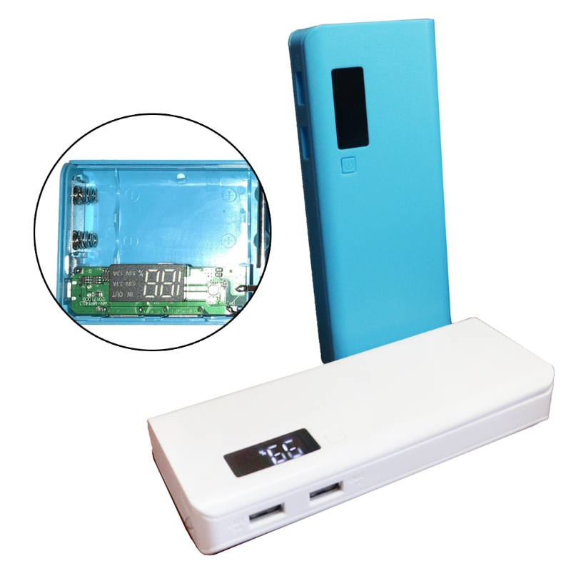 OOTDTY 5V Dual USB Charger 5x 18650 DIY Battery Holder LED Display Power Bank Case Box