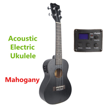Soprano Concert Tenor Acoustic Electric Ukulele 21 23 26 Inch Mini Guitar Ukelele Black Mahogany Guitarra Plug-in pick up Uke