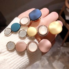 Fashion Korean Round Women Hair Clips Vintage Girls Hairgrips Accessories Crystal Alloy Hairpins