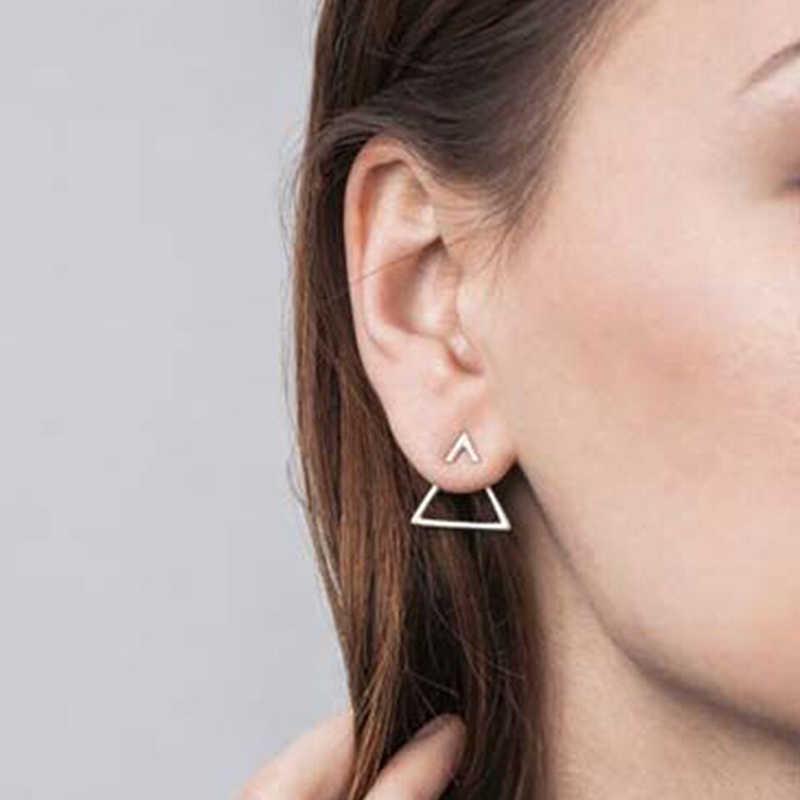 Nuevos pendientes moda Simple pendientes personalidad tres maneras de llevar pendiente de triángulo joyería al por mayor pendientes para mujer