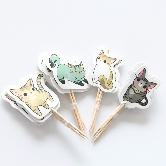Kid's Cat Themed Cupcake Toppers