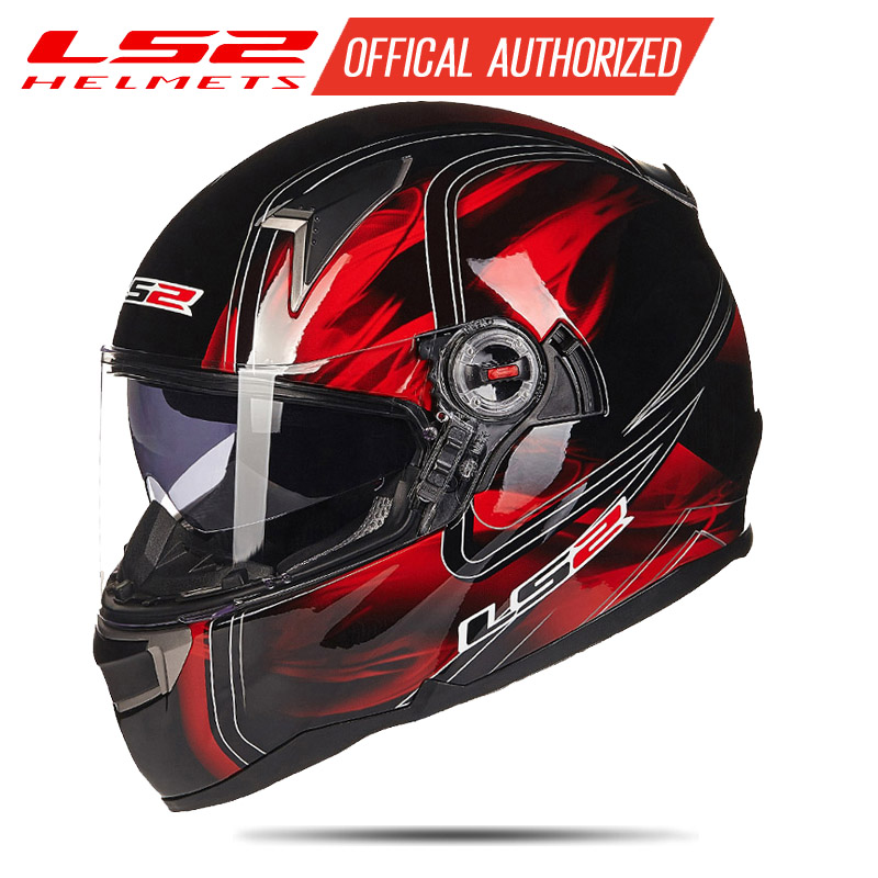 Fibra de vidro capacete da cara cheia capacete de moto rcycle LS2 FF396 original com airbag sunshiled Certificação ECE capacete de corrida de moto